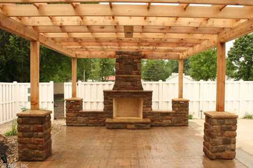 outdoor fireplace with patio Belgard