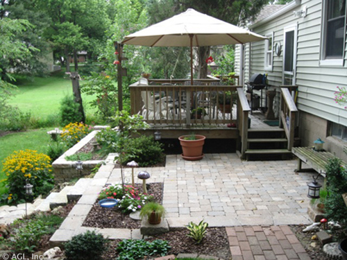 Patio With Stone Steps And Deck